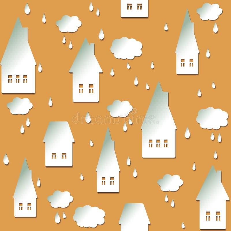 Fondo senza cuciture con le case, le nuvole e le gocce illustrazione di stock