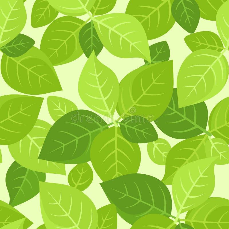 Fondo senza cuciture con le foglie verdi. illustrazione di stock