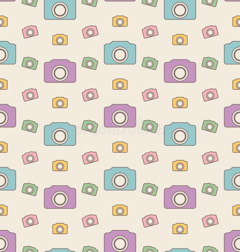 Fondo senza cuciture con le macchine fotografiche, modello d'annata dei pantaloni a vita bassa royalty illustrazione gratis