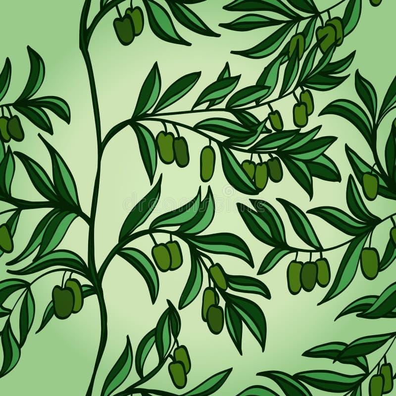 Fondo senza cuciture con le olive verdi illustrazione vettoriale