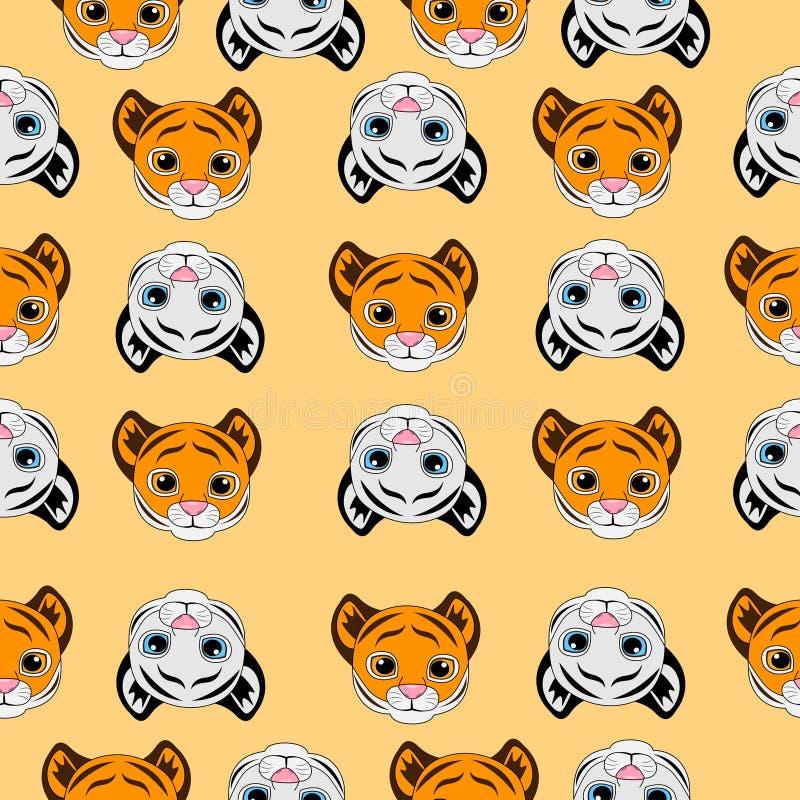 Fondo senza cuciture con le piccole tigri illustrazione vettoriale
