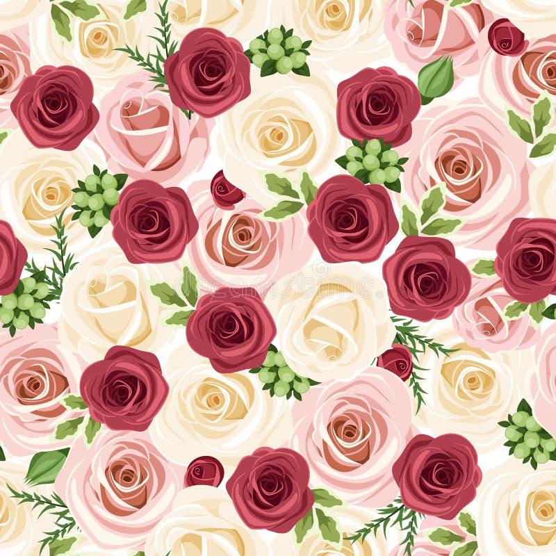 Fondo senza cuciture con le rose rosse, rosa e bianche. Illustrazione di vettore. royalty illustrazione gratis