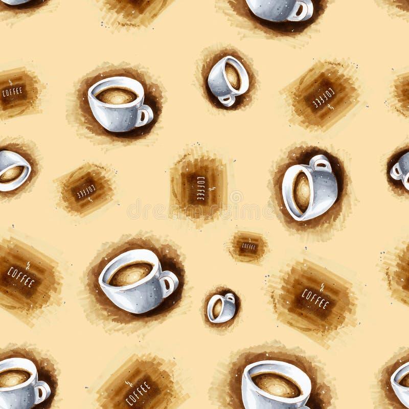 Fondo senza cuciture con le tazze di caffè per la vostra progettazione illustrazione di stock