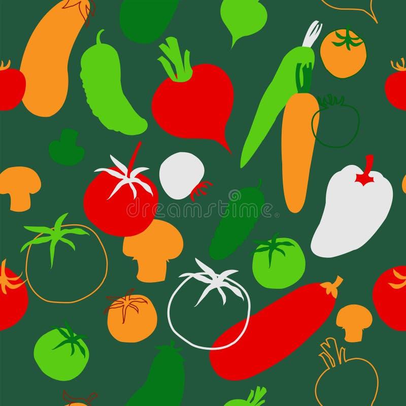 Fondo senza cuciture con le varie verdure su un backgroun verde illustrazione vettoriale