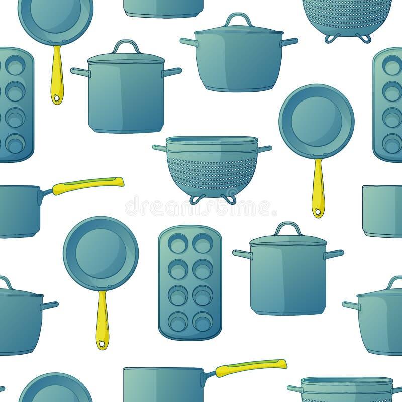 Fondo senza cuciture con un modello degli utensili per cuocere Fondo senza cuciture con gli accessori della cucina per cuocere illustrazione vettoriale