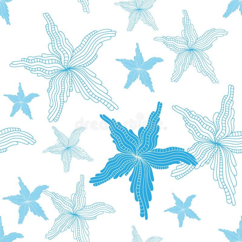 Fondo senza cuciture con un tema nautico Stelle marine blu delle stelle marine su un fondo bianco Illustrazione di vettore royalty illustrazione gratis