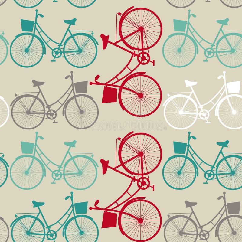 Fondo senza cuciture d'annata con le biciclette illustrazione vettoriale