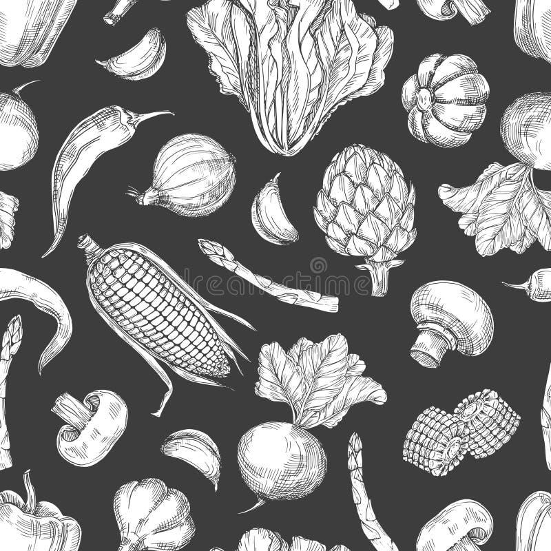 Fondo senza cuciture d'annata del modello delle verdure disegnate a mano illustrazione vettoriale