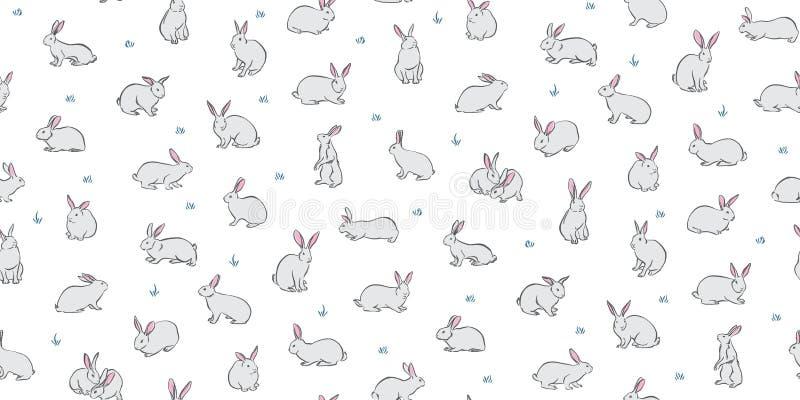 Fondo senza cuciture degli animali domestici del coniglietto Conigli svegli di vettore su fondo bianco Modello puerile disegnato  illustrazione di stock