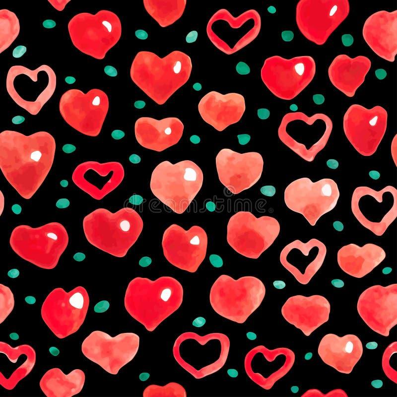 Fondo senza cuciture dei cuori dell'acquerello Modello rosa-rosso del cuore dell'acquerello royalty illustrazione gratis