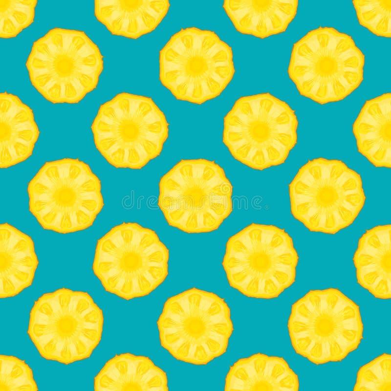 Fondo senza cuciture del blu del modello dell'ananas royalty illustrazione gratis