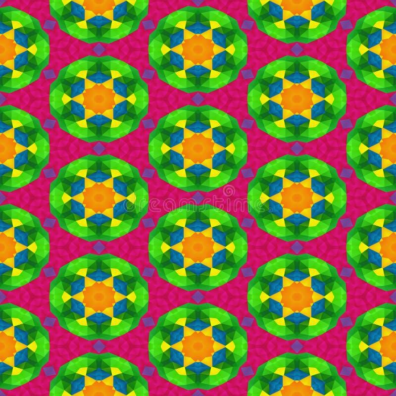 Fondo senza cuciture del caleidoscopio del mosaico - spettro completo colorato con il modello floreale rotondo illustrazione di stock