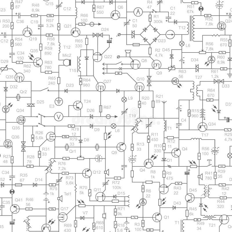 Fondo senza cuciture del circuito elettrico con le firme. illustrazione di stock