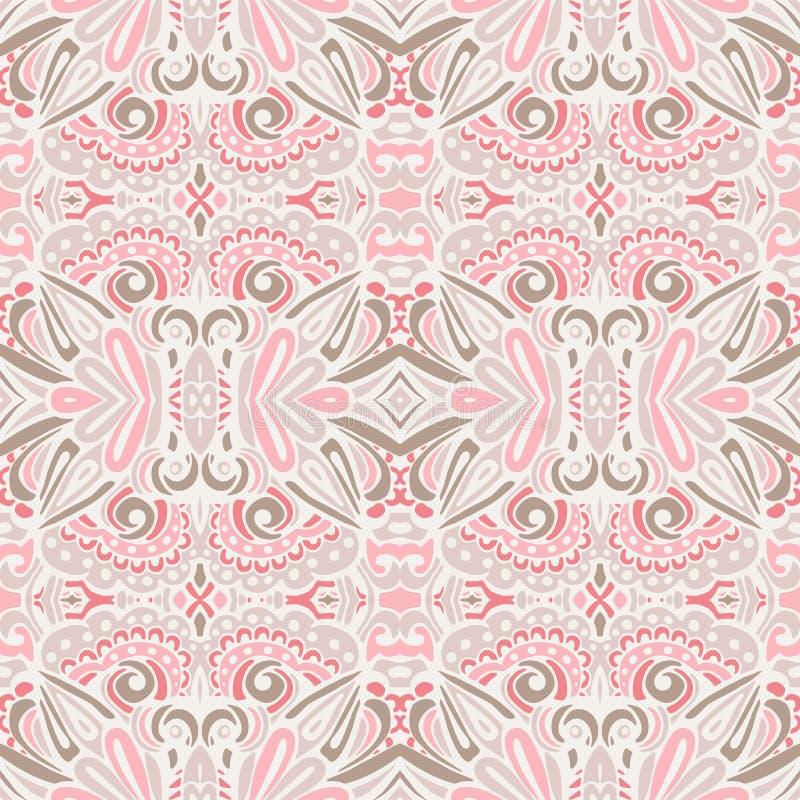 Fondo senza cuciture del damasco del modello di vettore sveglio d'annata romantico di rosa illustrazione vettoriale