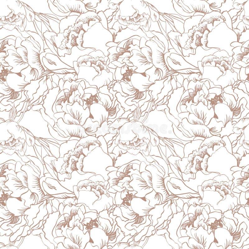 Fondo senza cuciture del fiore elegante Insieme del bronzo illustrazione di stock