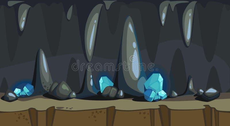 Fondo senza cuciture del fumetto della caverna scura royalty illustrazione gratis
