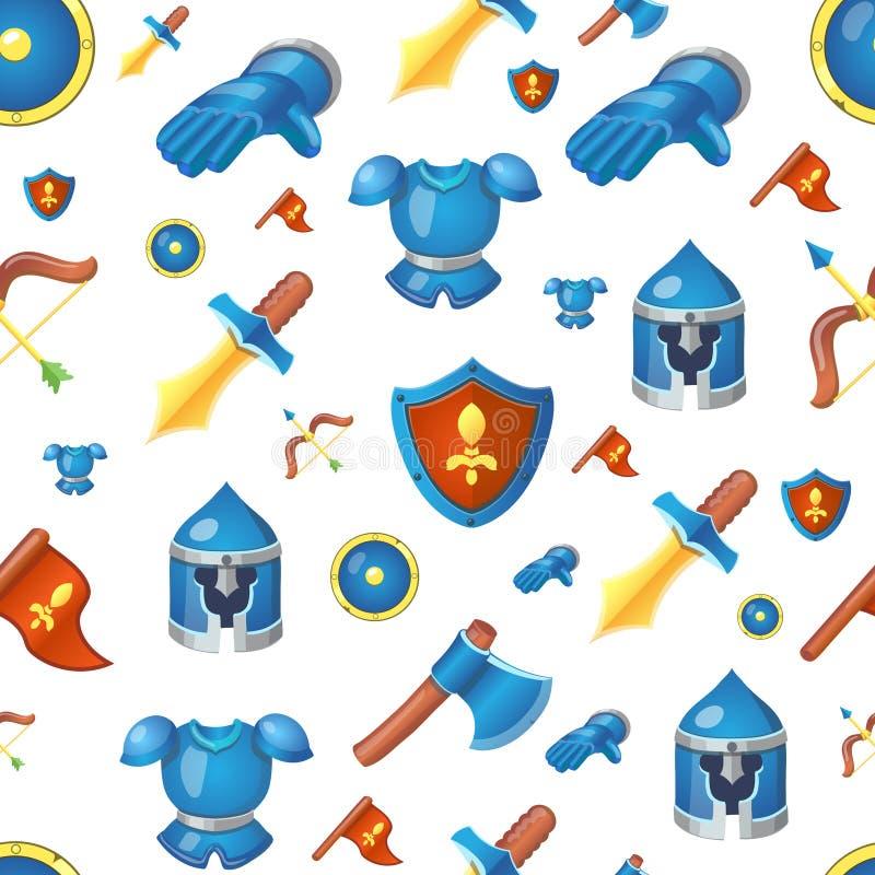 Fondo senza cuciture del fumetto delle armi medievali illustrazione di stock