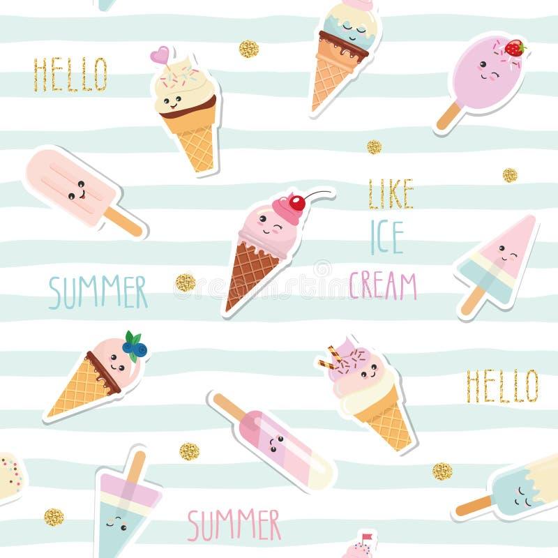 Fondo senza cuciture del modello barrato estate con il gelato del fumetto di kawaii e lo scintillio Per la stampa ed il web Girly illustrazione vettoriale