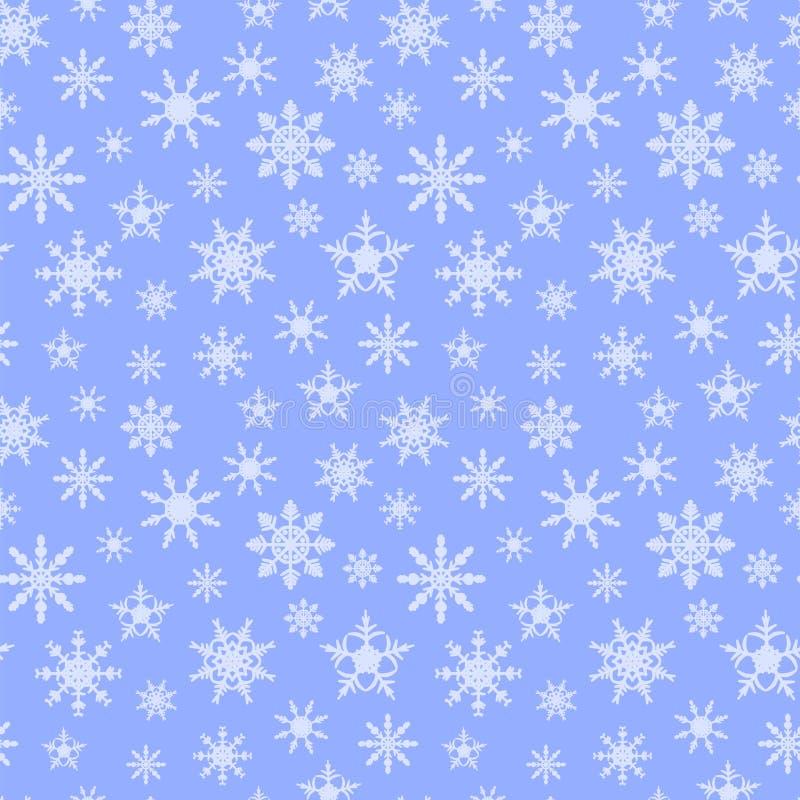Fondo senza cuciture del modello con il substrato del blu dei fiocchi di neve immagini stock libere da diritti
