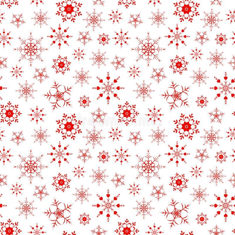 Fondo senza cuciture del modello con il substrato rosso dei fiocchi di neve fotografia stock libera da diritti
