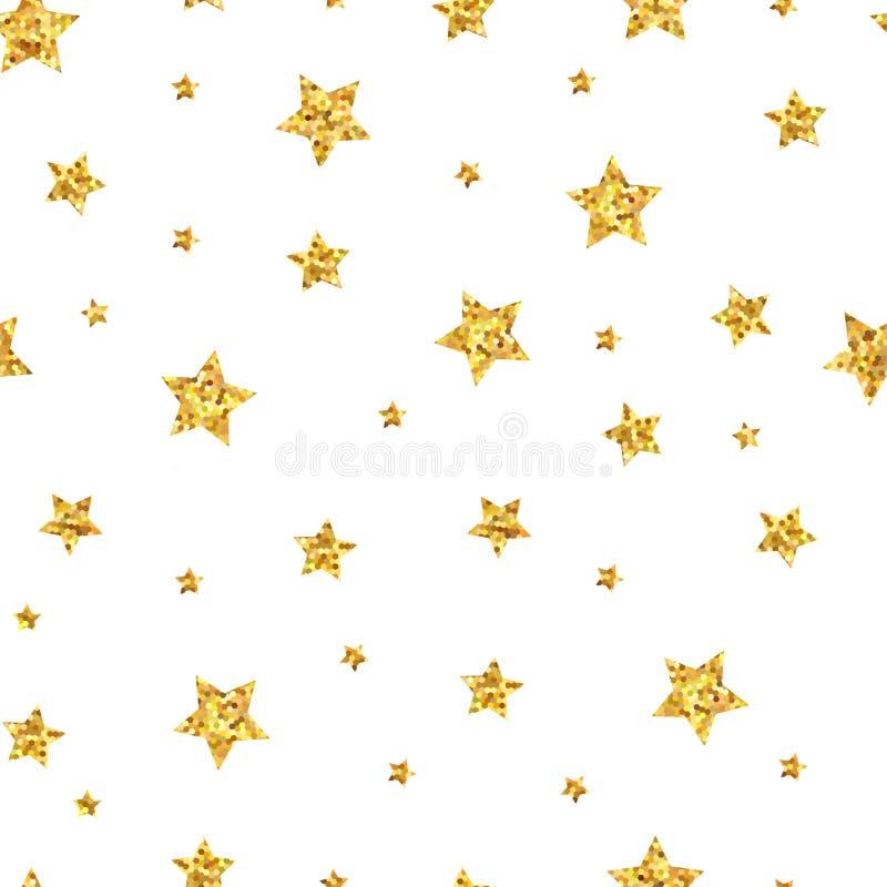 Fondo senza cuciture del modello con le stelle d'oro illustrazione vettoriale