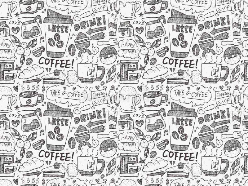 Fondo senza cuciture del modello del caffè di scarabocchio royalty illustrazione gratis