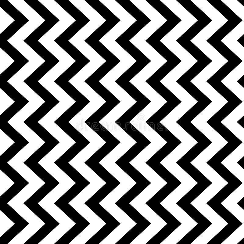 Fondo senza cuciture del modello del gallone verticale di zigzag in bianco e nero Retro progettazione d'annata di vettore illustrazione di stock