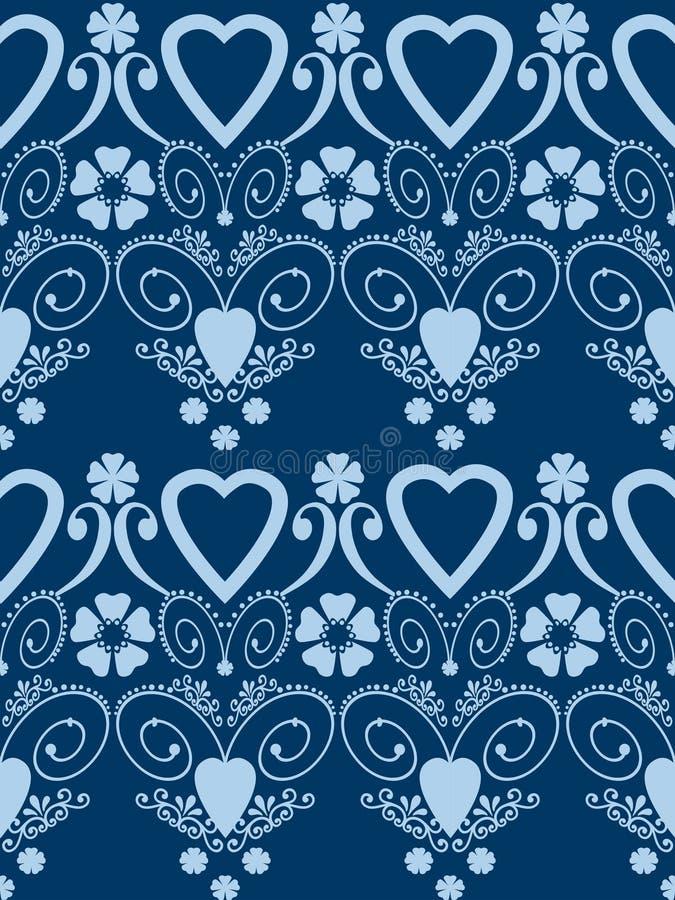 Fondo senza cuciture del modello del retro dei cuori di biglietti di S. Valentino ornamento di giorno illustrazione di stock