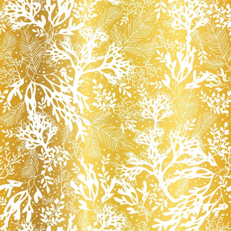Fondo senza cuciture del modello dell'alga di struttura dorata e bianca di vettore Grande per tessuto grigio elegante, carte, noz illustrazione di stock