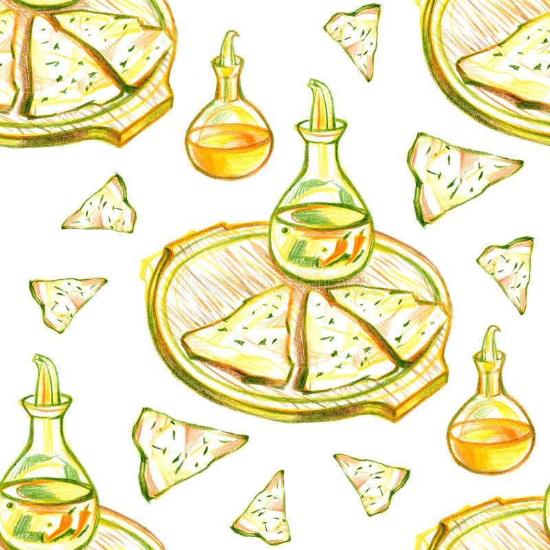 Fondo senza cuciture del modello dell'alimento messicano variopinto Schizzo di quesadilla di colore e fondo di colore illustrazione vettoriale