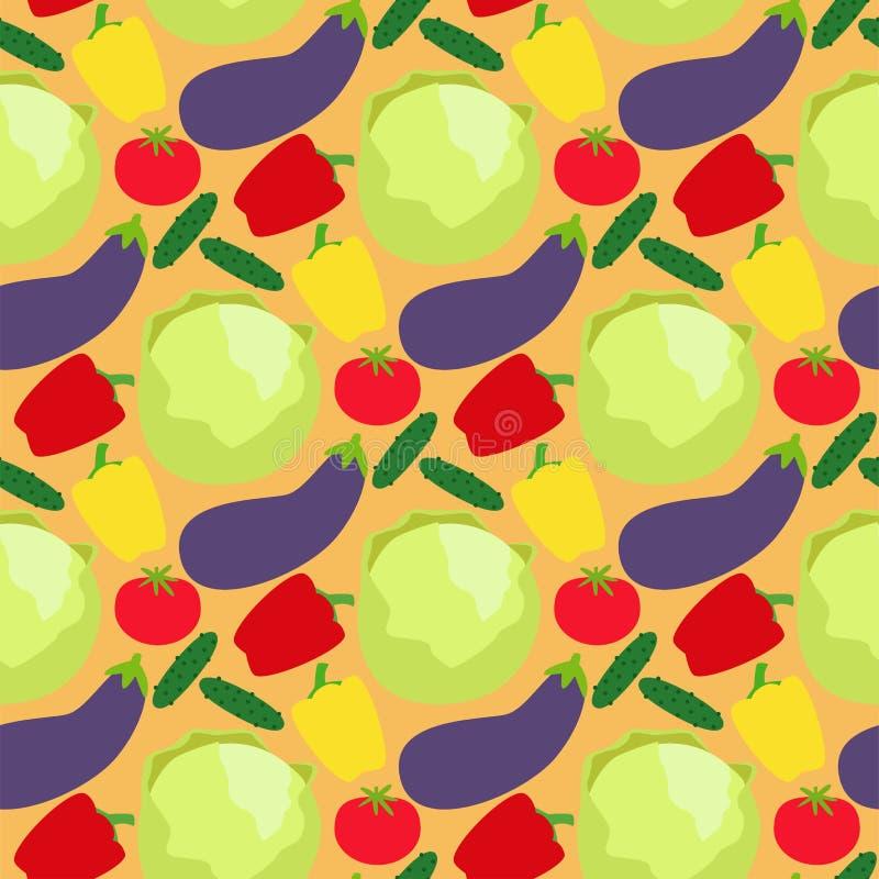 Fondo senza cuciture del modello dell'alimento sano del porridge dei pomodori dei peperoni della cellulosa dell'alimento delle ve illustrazione vettoriale