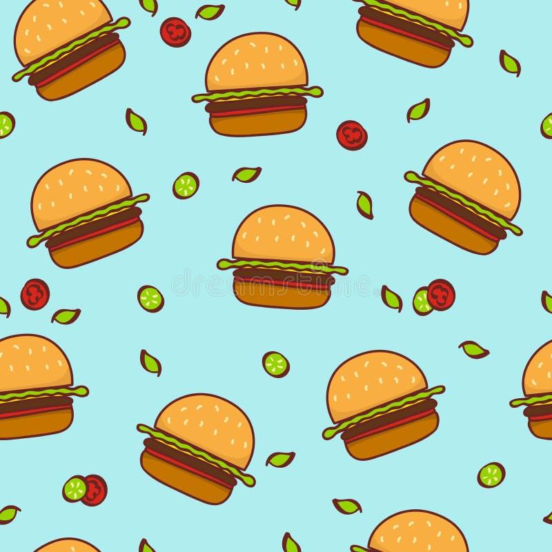 Fondo senza cuciture del modello dell'hamburger di scarabocchio immagini stock libere da diritti