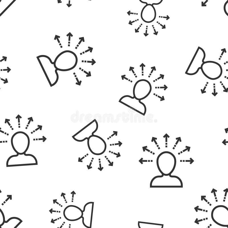 Fondo senza cuciture del modello dell'icona di consapevolezza di mente Illustrazione umana di vettore di idea su fondo isolato bi illustrazione di stock