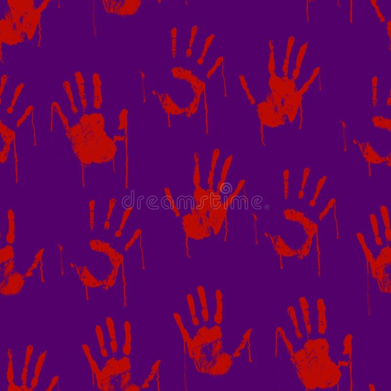 Fondo senza cuciture del modello dell'impronta spaventosa sanguinosa rossa delle mani Vettore illustrazione di stock
