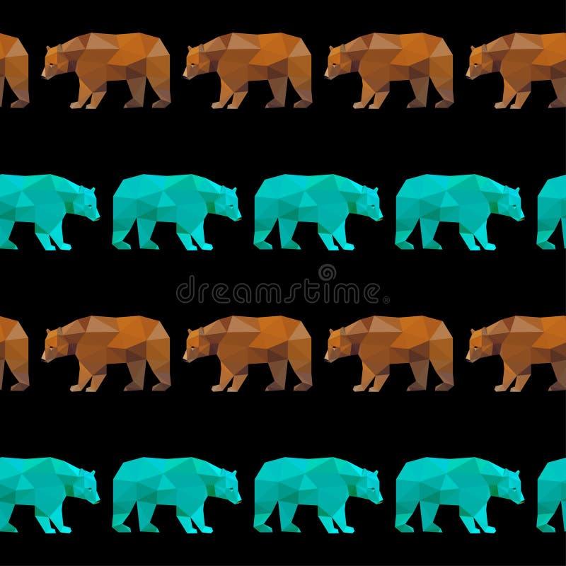 Fondo senza cuciture del modello dell'orso geometrico astratto illustrazione di stock