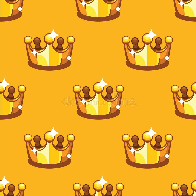 Fondo senza cuciture del modello della corona reale dorata Fondo di giallo del crownon di re e della regina del modello illustrazione di stock