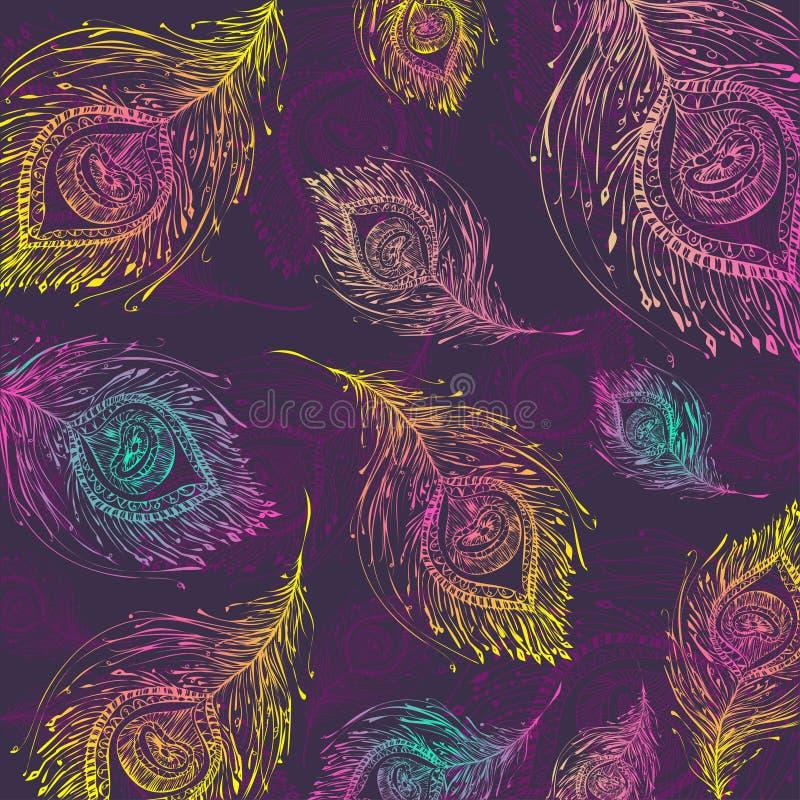 Fondo senza cuciture del modello della piuma del pavone illustrazione di stock