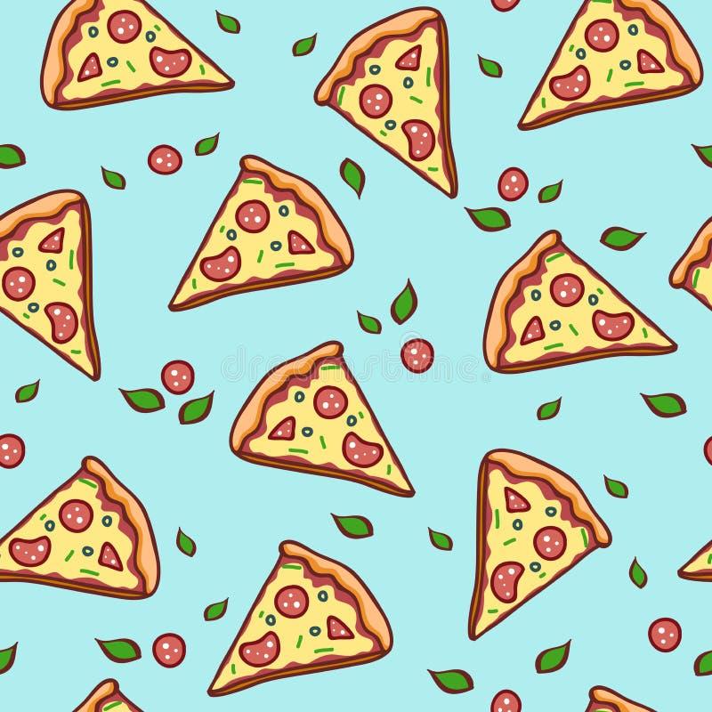 Fondo senza cuciture del modello della pizza di scarabocchio fotografia stock