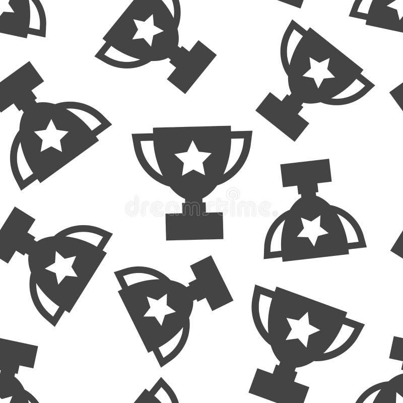 Fondo senza cuciture del modello della tazza del trofeo Ill piano di vettore di affari royalty illustrazione gratis
