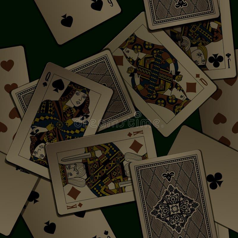 Fondo senza cuciture del modello delle carte da gioco d'annata scure illustrazione di stock