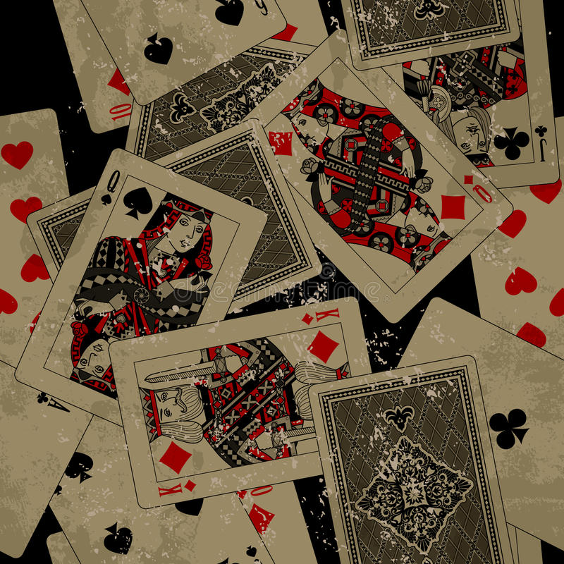 Fondo senza cuciture del modello delle carte da gioco nello stile di lerciume illustrazione di stock