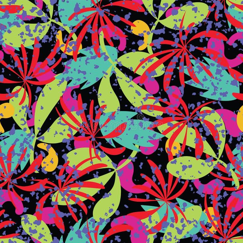 Fondo senza cuciture del modello delle foglie tropicali dell'estratto di vettore royalty illustrazione gratis