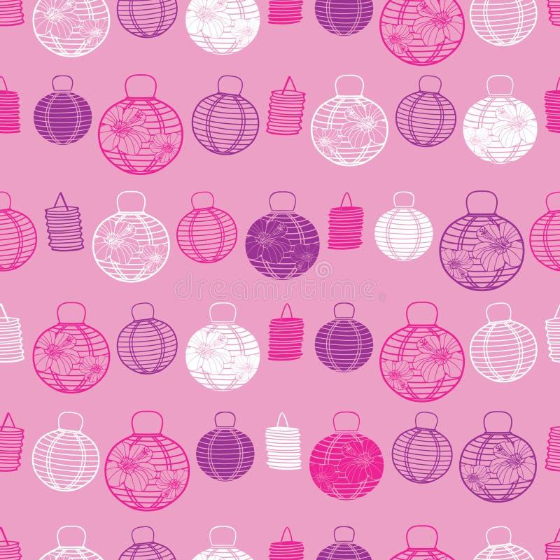 Fondo senza cuciture del modello delle lanterne di rosa di vettore, di Libro porpora e Bianco Perfezioni per tessuto, scrapbookin illustrazione vettoriale