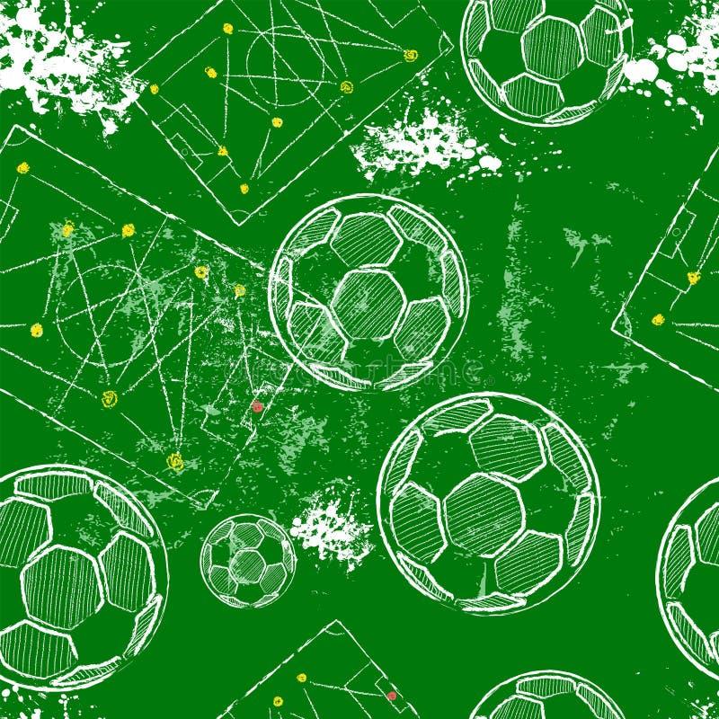 Fondo senza cuciture del modello di calcio o di calcio, tattiche diagramma, palloni da calcio, vettore illustrazione vettoriale