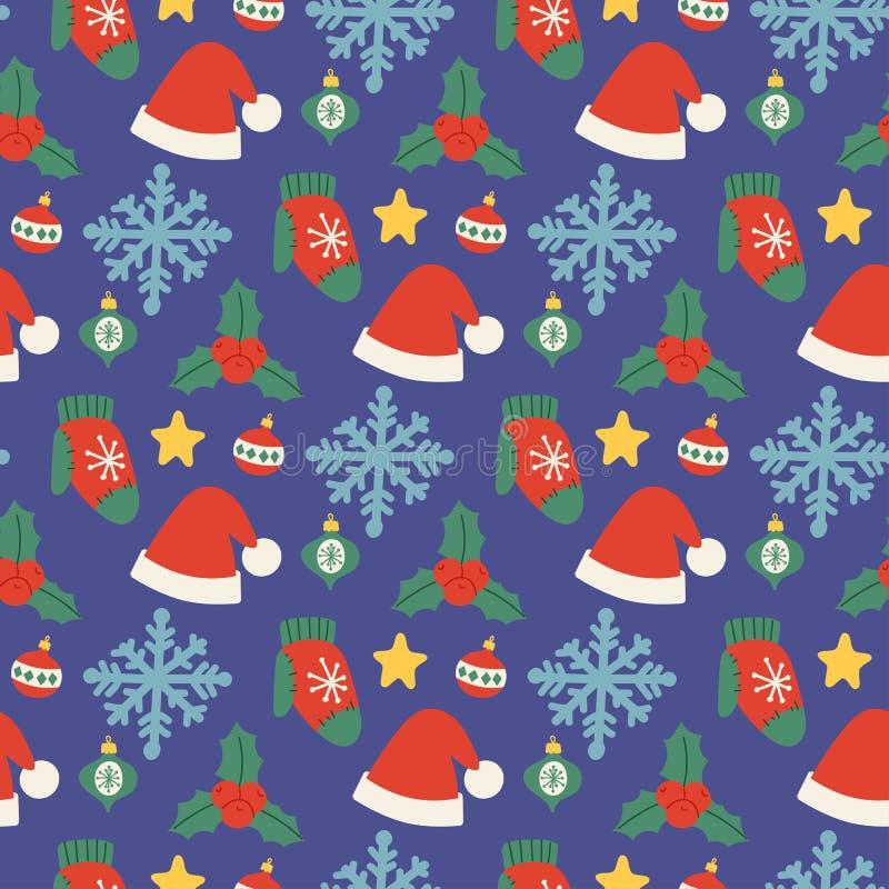 Fondo senza cuciture del modello di hatsvector di Natale per progettazione di celebrazione del nuovo anno di inverno della cartol illustrazione vettoriale