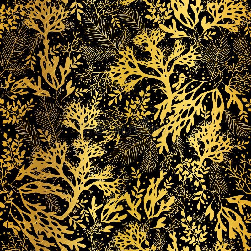 Fondo senza cuciture del modello di struttura dell'alga del nero dell'oro di vettore illustrazione di stock