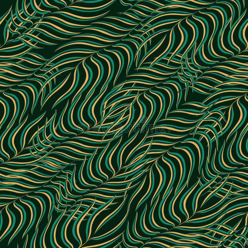 Fondo senza cuciture del modello Fogliame floreale tropicale esotico delle foglie di palma Tessuto di modo della pianta del tessu royalty illustrazione gratis
