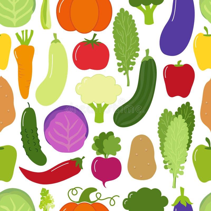 Fondo senza cuciture del modello del menu sveglio del vegano con le varie verdure royalty illustrazione gratis
