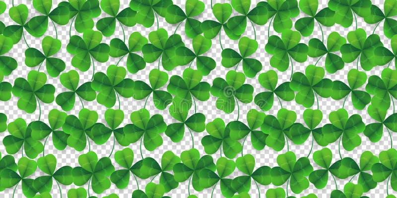 Fondo senza cuciture del modello del quadrifoglio di vettore Fondo verde fower-coperto di foglie fortunato per il ` s di St Patri illustrazione di stock