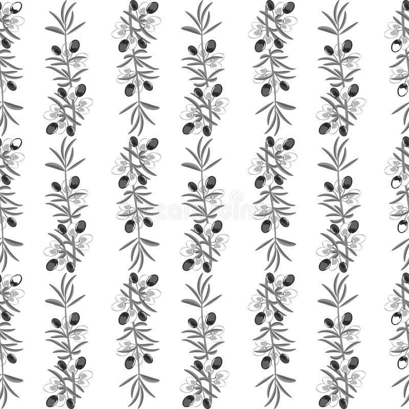 Fondo senza cuciture del modello verde oliva con le foglie verde oliva illustrazione vettoriale
